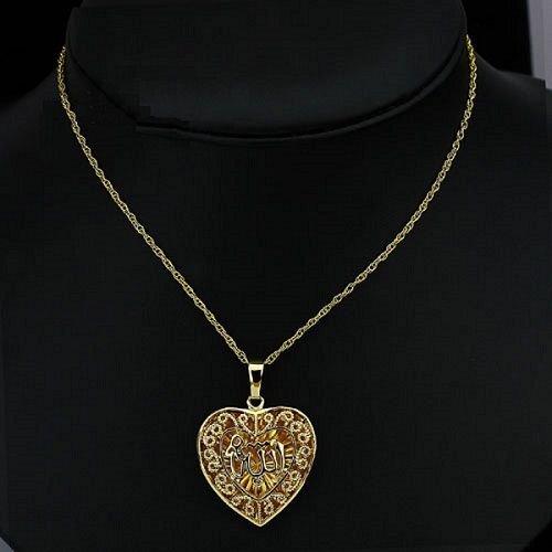 Fashion 18k Gold Plated Heart Allah Islam Pendant & Chain ! Gift Jewelry & Love