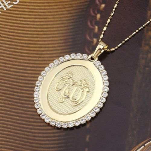 18k gold plated + zircons Allah Islam pendant & necklace ! Gift Jewelry & Love