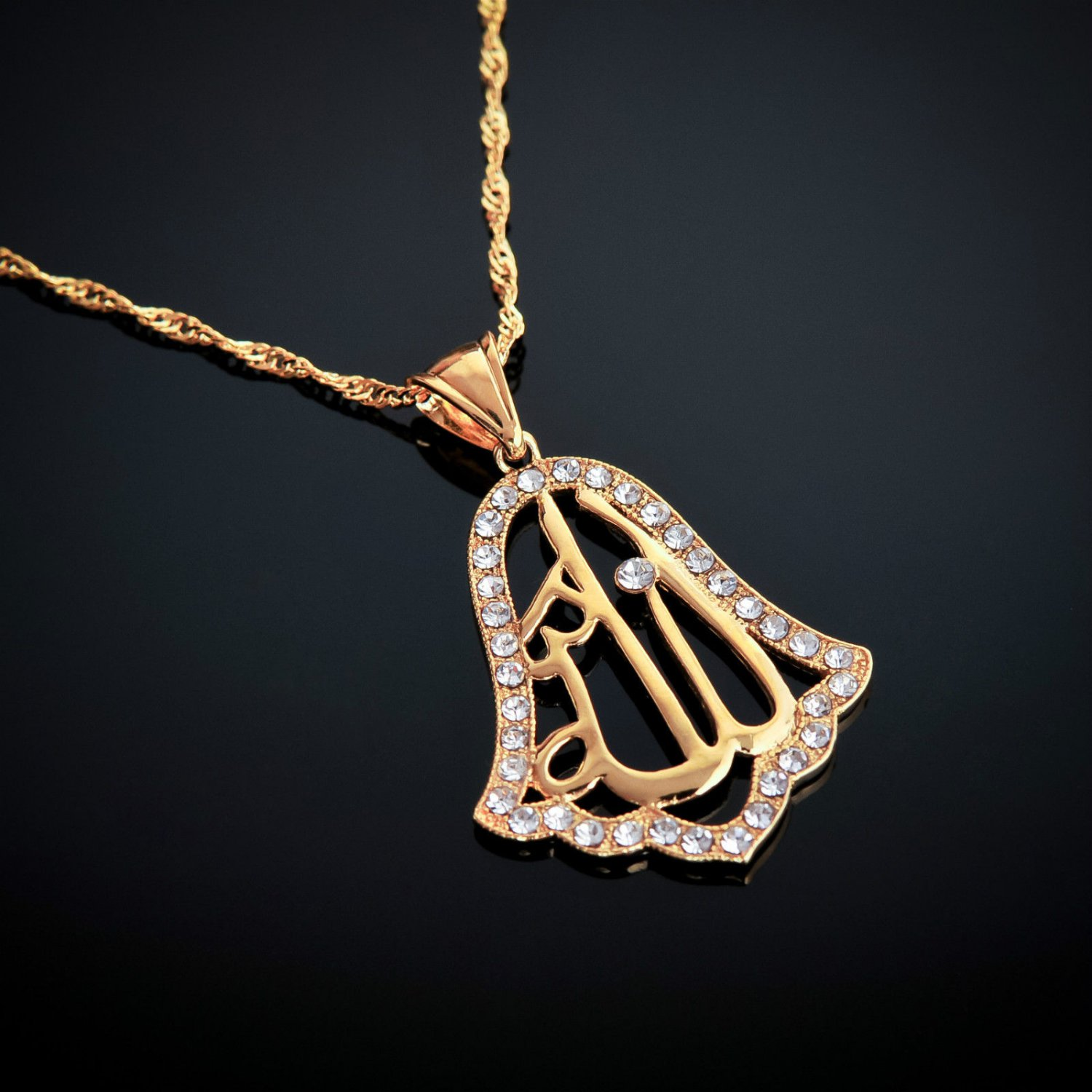 Fashion 18k gold plated Allah Islamic Pendant & chain ! Islam Jewelry & Gift