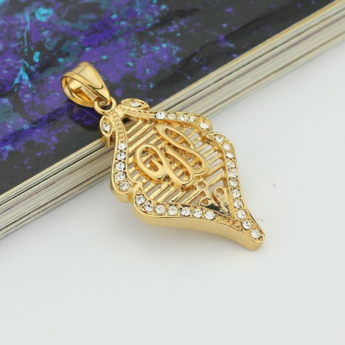 Fine 24k gold plated zircon allah islam pendant & necklace ! Gift Jewelry & Love