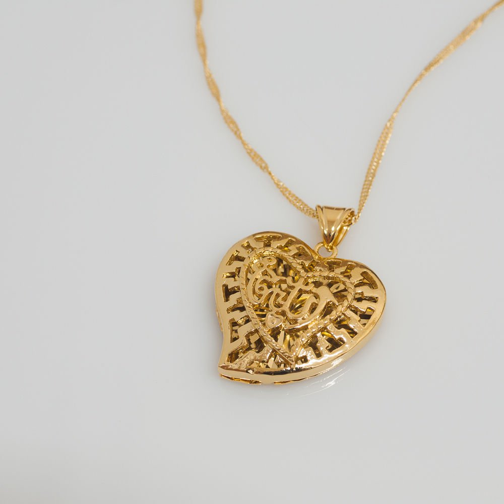 Fashion 18k Gold Plated Heart Allah Islam Pendant Necklace ! Gift Jewelry & Love