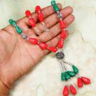 Fashion red natural coral & malachite gemstone beaded necklace ! Gift & Jewelry