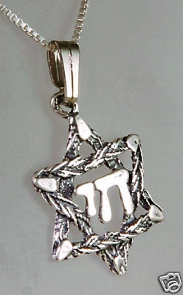 """Sterling silver necklace & pendant David star , """"live"""" in hebrew ! Gift & Jewel"""