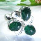 Three gemstone Aventurine silver 925 ring size 7 1/2 ! Gift Jewelry & Love