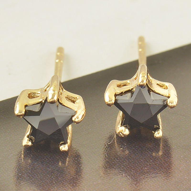 Fashion 9K gold filled black star onyx zircon stud earring ! Gift Jewelry & Love