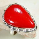 Fashion retro silver set red coral gemstone ring size 8.5 ! Gift Jewelry & Love