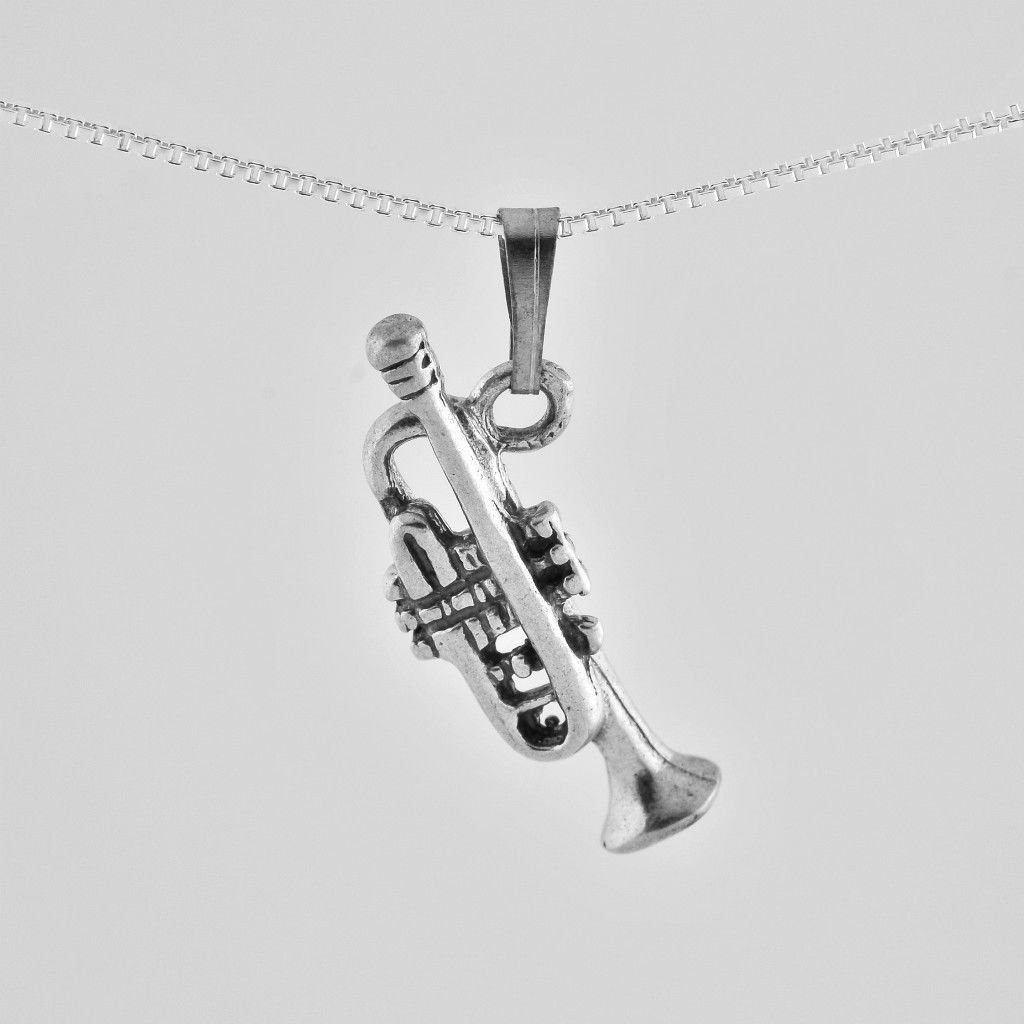 Silver 925 necklace & pendant of a trumpet ! Sterling Jewelry Gift & Love Store
