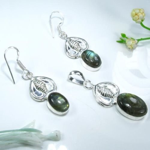 Labradorite stone silver pendant & necklace & earrings ! Gift Jewelry & Love