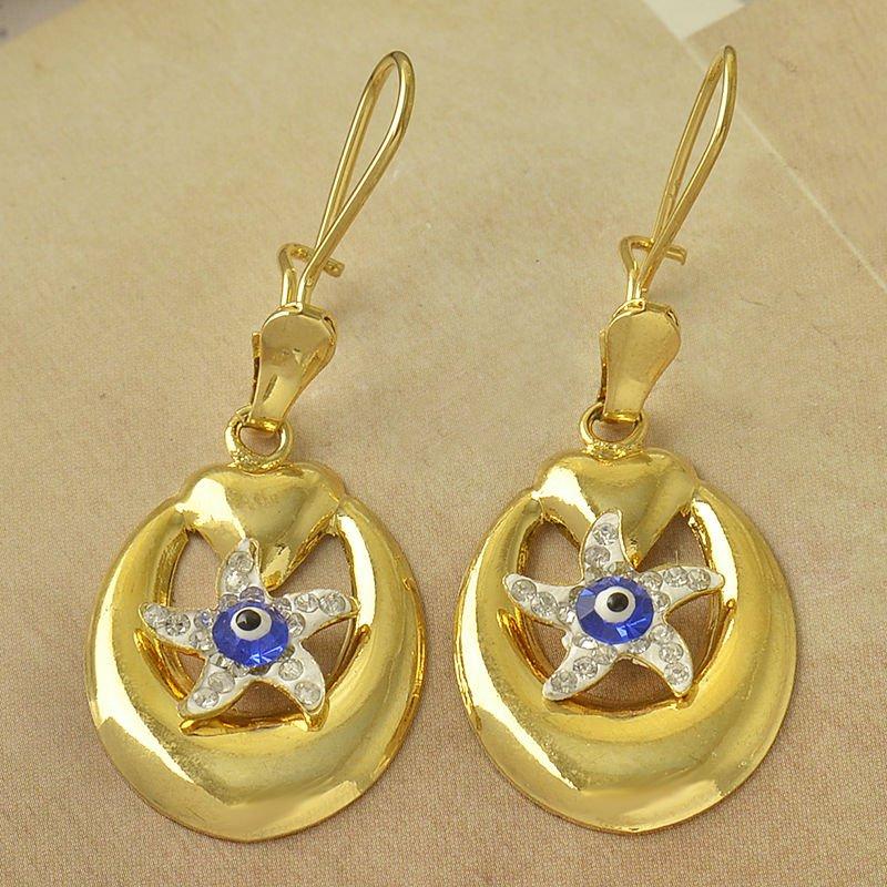 Fashion 9K gold filled blue eye star zircon dangle earring ! Gift Jewelry & Love