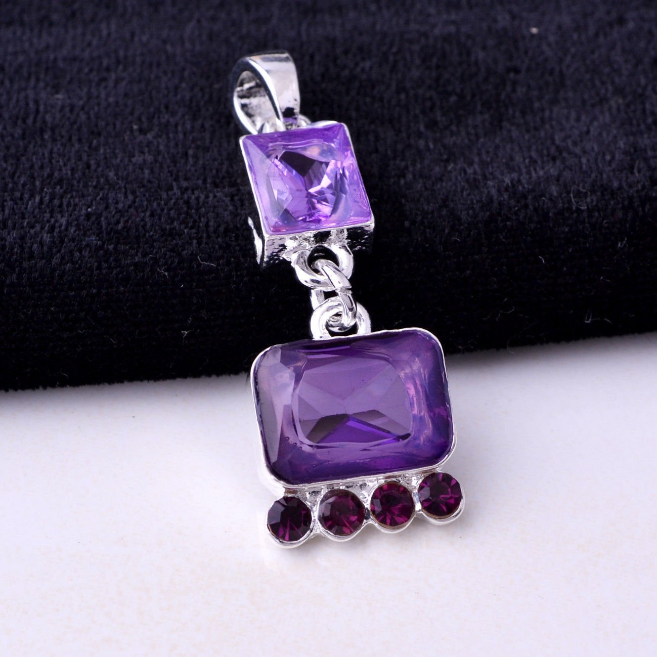 Fashion silver necklace & pendant set Amethyst gemstone ! Gift & Jewelry