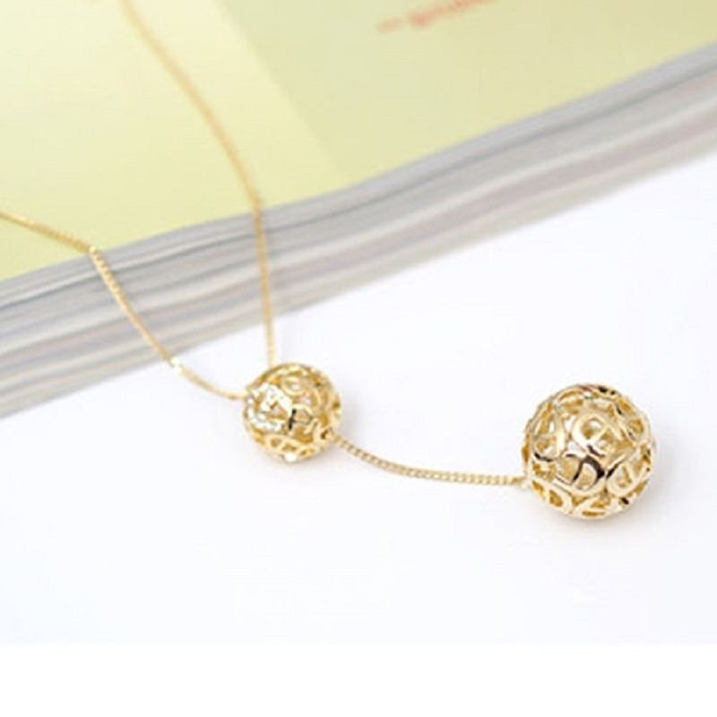 Fashion 9k gold filled double balls zircon pendant + necklace ! Gift & Jewelry