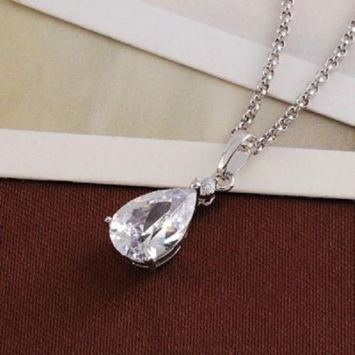 Elegant pretty 18k gold plated zircon pendant necklace ! Gift Jewelry & Love