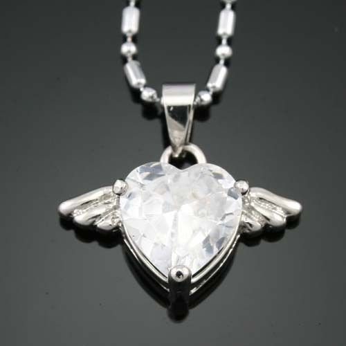Heart wings white cubic zircon 18K GP Pendant & Necklace ! Gift Jewelry & Love