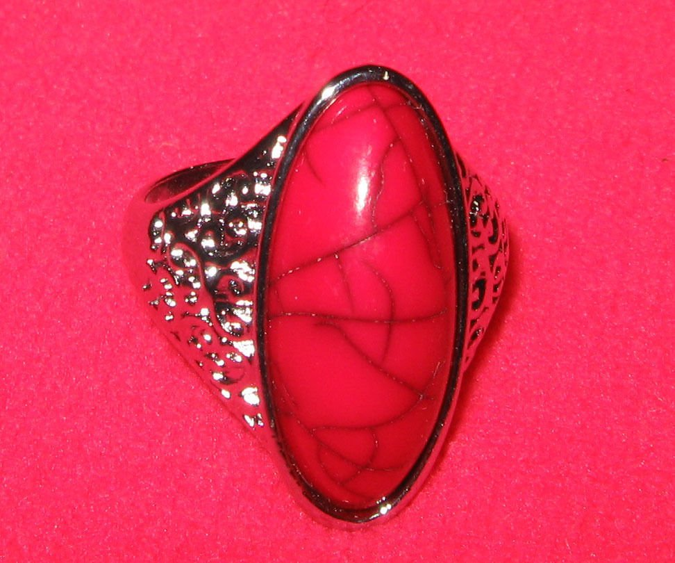 Fashion retro natural red coral Thailand silver ring size 10 ! Gift & Jewelry