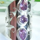 Natural pink topaz & quartz silver ring Jewel size 5.5 ! Gift Jewelry & Love