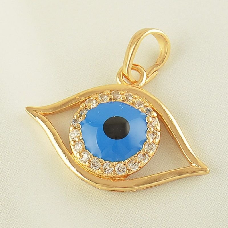 Fashion 9kk gold filled blue eye set zircons pendant & necklace ! Jewelry & Gift
