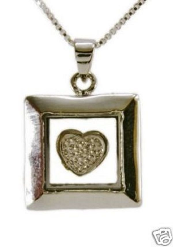 Sterling silver 925 necklace & pendant of spinning heart ! Gift Jewelry & Love
