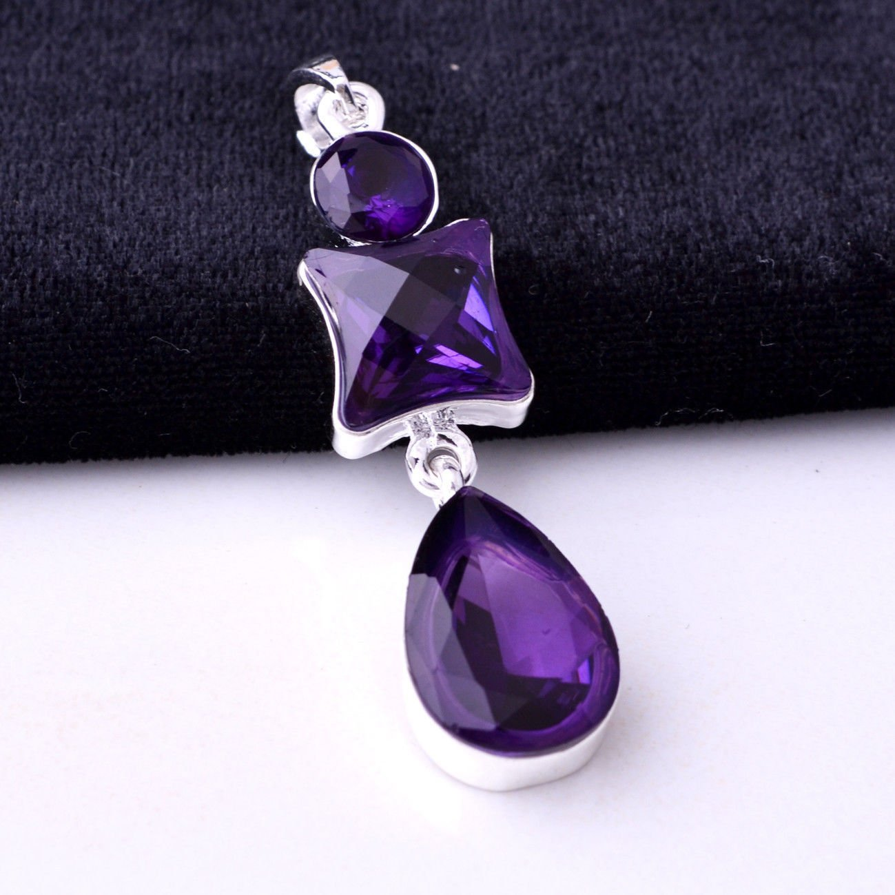 Fashion silver necklace & pendant set Amethyst swarovski ! Gift Jewelry & Love