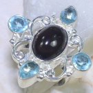 Fashion amethyst + blue topaz silver retro ring size 7 1/2 ! Gift & Jewelry