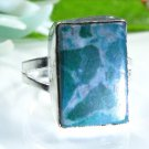 Pretty fashion silver 925 & howlite ring size 7