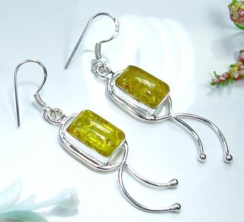 beautiful style silver natural yellow amber earrings ! Gift Jewelry & Love