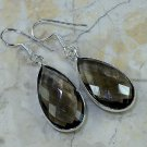 "Fashion silver earrings set Smoky gemstone quartz 2 1/2"" ! Gift Jewelry & Love"