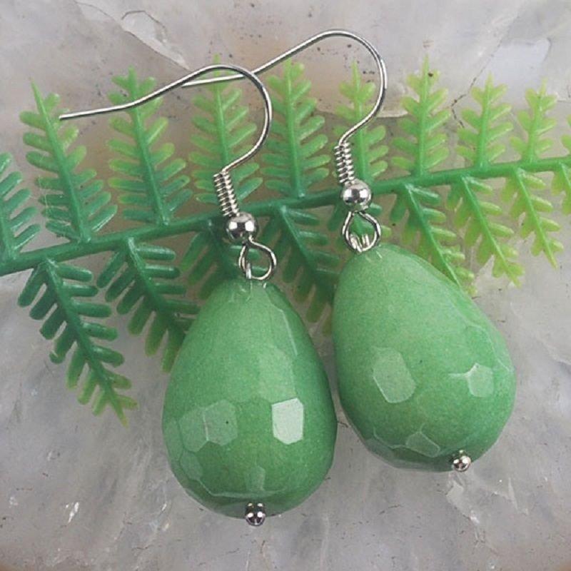 Beautiful fashion Silver earrings set - green gemstone ! Gift Jewelry & Love
