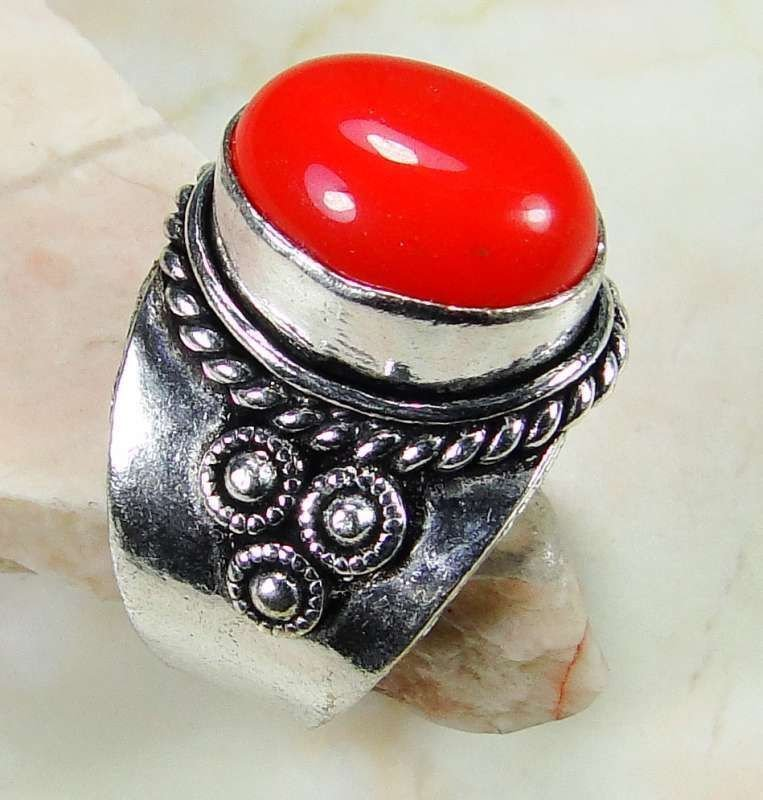 Fashion retro natural red coral Thailand silver ring size 9 ! Gift & Jewelry