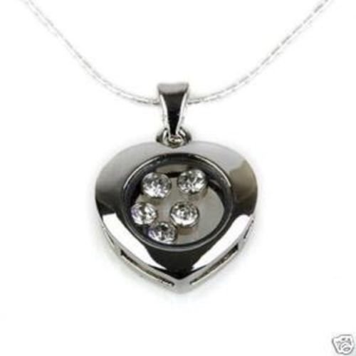 Silver sterling pendant of heart with crystal stones ! Gift Jewelry & Love