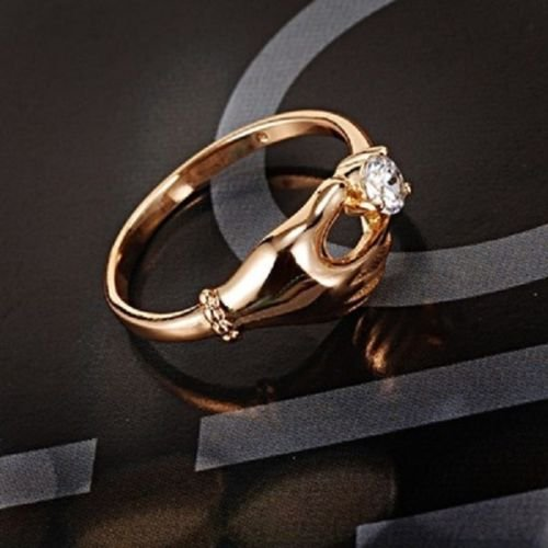 Pretty 18K gold plated gentle woman hand & zircon ring size 8 ! Gift Jewelry