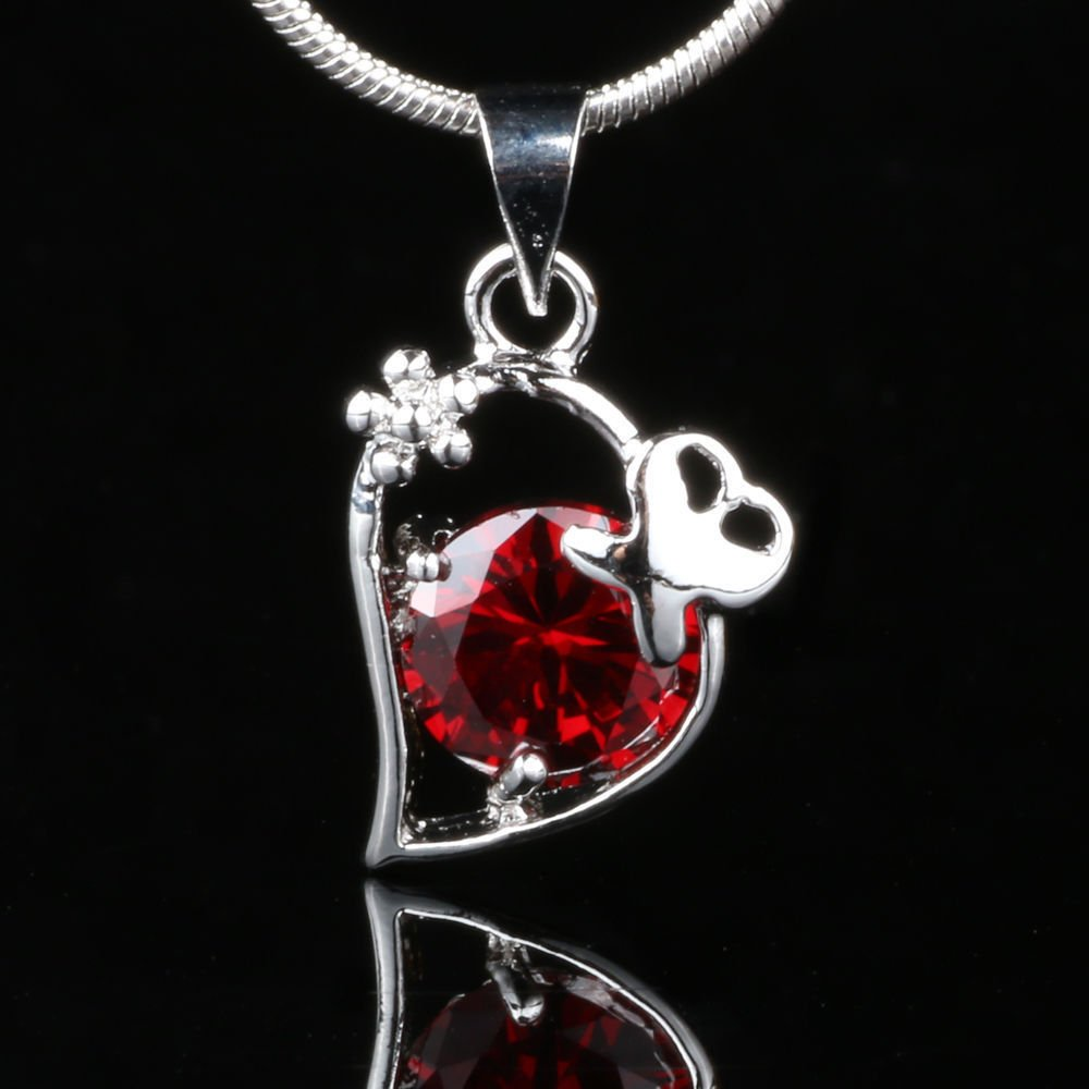 Fashion red zircom stone silver plated pendant + necklace ! Gift Jewelry & Love