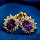 18K Yellow Gold Plated Flower Design Purple & White Cubic Zircons Hoop Earrings