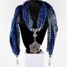 Fashion Jewelry Accessory Blue Scarf With Flower Pendant Necklace ! Gift & Love