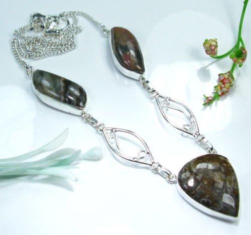 Pretty jasper stones silver 925 + pendant necklace ! Gift Jewelry and Love