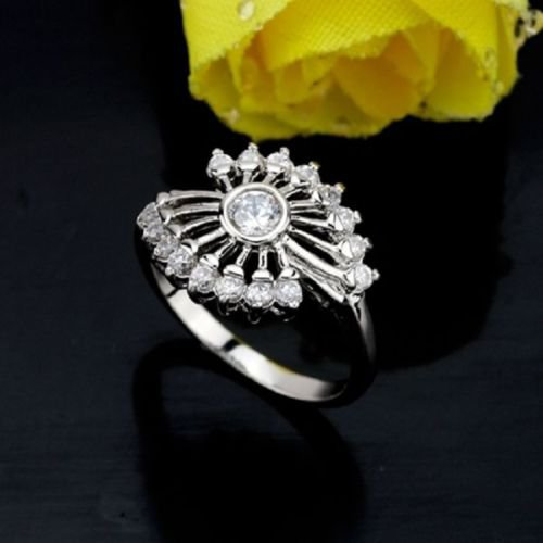 "Pretty 18K GP ring "" hand-held fan "" beautiful zircons ! Gift Jewelry & Love"