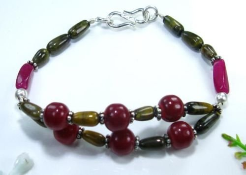 Beautiful fine tiger eye & cherry ruby silver bracelet ! Gift Jewelry & Love