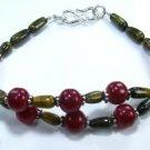Beautiful fine tiger eye & cherry ruby silver bracelet ! Gift Jewelry & Love
