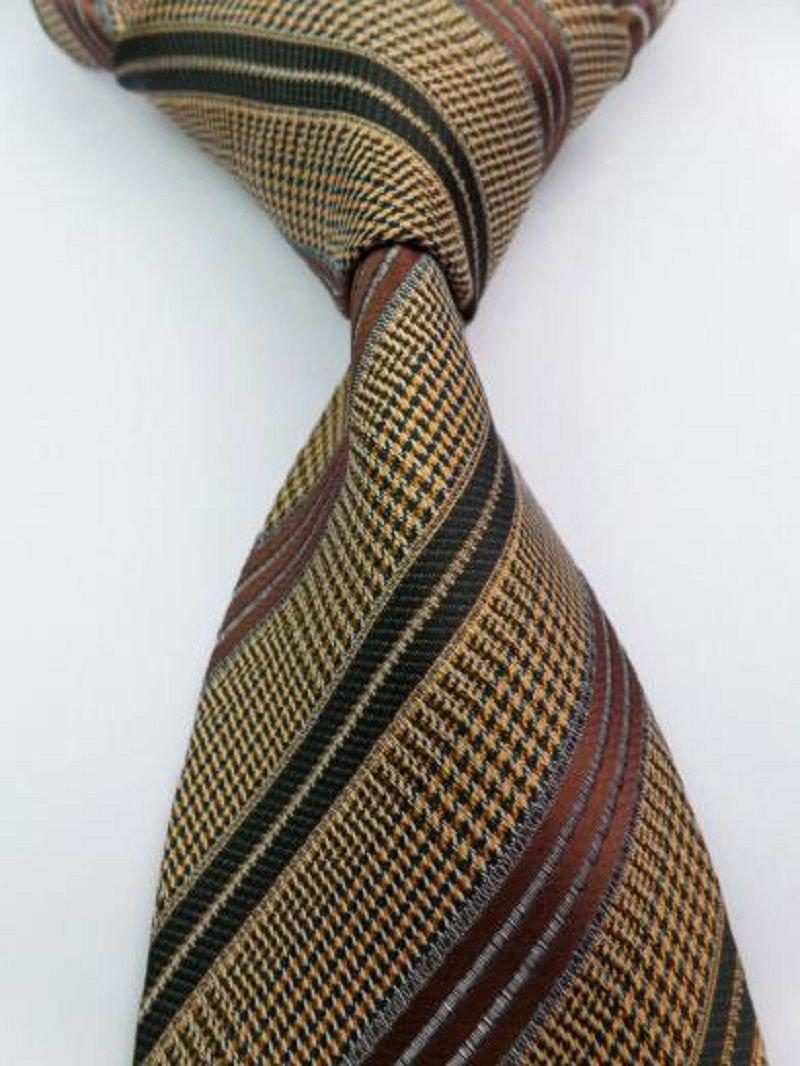 Fashion Accessory Yellow & Brown Striped Silk Classic Woven Necktie - Men's Tie