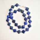 "18.5"" Lapis lazuli beaded necklace square design gemstone ! Gift Jewelry & Love"