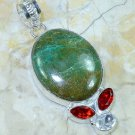 Chrysocolla + garnet + white topaz silver pendant & necklace ! Gift & Jewelry