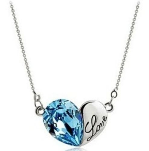 18k white gold plated jewelry pale blue crystal love Heart pendant & necklace