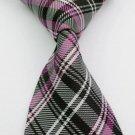 Fashion Accessory Pink & White Striped Silk Classic Woven Necktie - Men's Tie