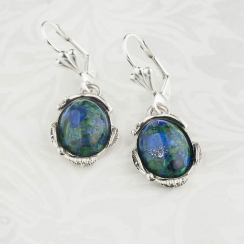 Fashion silver 925 earrings + natural Eilat stone Israel ! Gift Jewelry & Love