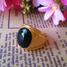 Fashion 18k Gold filled black gemstone unisex ring size 9 ! Gift Jewelry & Love