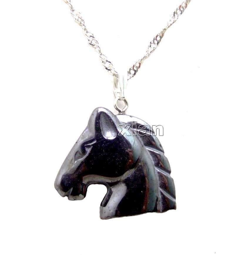 Fashion head horse natural hematite pendant and necklace ! Gift Jewelry & Love