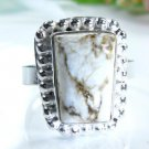 Elegant unique Jasper stone silver 925 ring size 7 1/2 ! Gift Jewelry and Love
