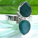 Fine fashion elegant Emerald silver 925 ring size 8 ! Gift Jewelry and Love