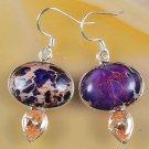 Unique Purple sea sediment jasper stone sterling earrings ! Gift Jewelry & Love