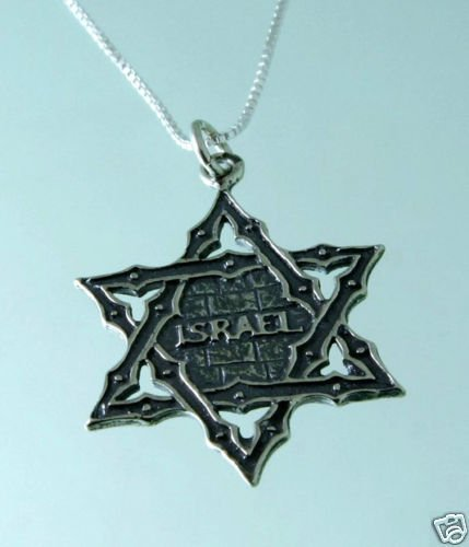 Silver pendant & necklace , star of David - Israel