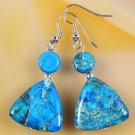 Unique blue sea sediment jasper stone sterling earrings ! Gift Jewelry & Love